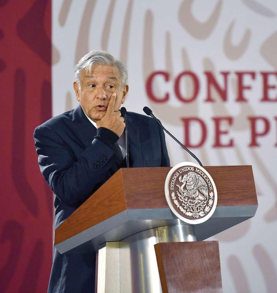 Ayer, el Presidente en su conferencia matutina en Palacio. Foto: Pablo Salazar / El Heraldo de México