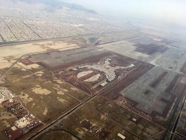 Vista aérea de la construcción del Nuevo Aeropuerto Internacional de la Ciudad de México. Foto: Cuartoscuro