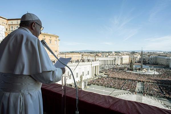 El papa, que dedicó el martes su mensaje de Navidad a