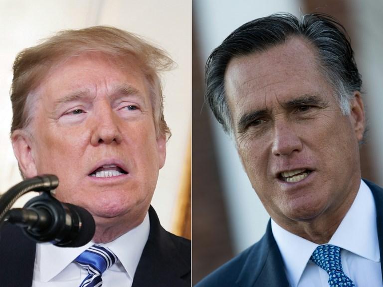 En el artículo publicado este martes, Romney recordó que no había apoyado a Trump como candidato del Partido Republicano en 2016. Foto: AFP