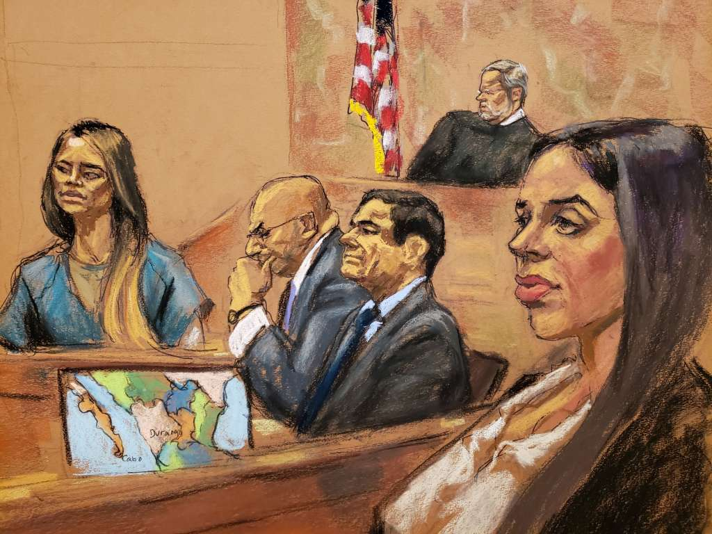 """Lucero Guadalupe Sanchez Lopez testifies during trial of Mexican drug lord """"El Chapo"""" in New York City"""