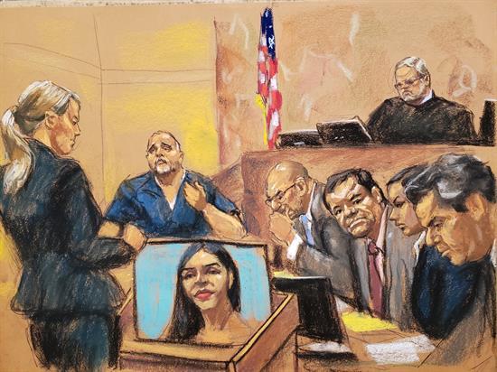 Dibujo de juicio de Joaquín 'El Chapo' Guzmán en la ciudad de Nueva York. Ilustración EFE