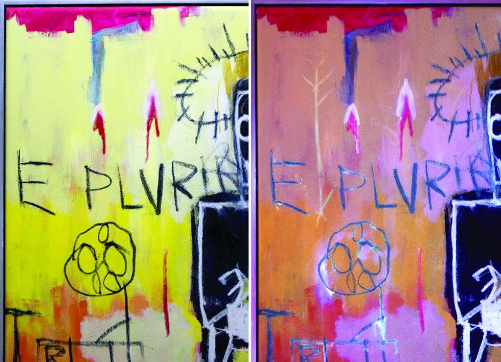 REVELACIÓN. A la derecha, bajo luz UV, se muestran trazos nuevos. Sin título (1981). Foto: Especial