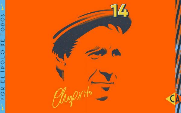 El personaje de Roberto Gómez Bolaños usó una camiseta naranja Foto: Club América