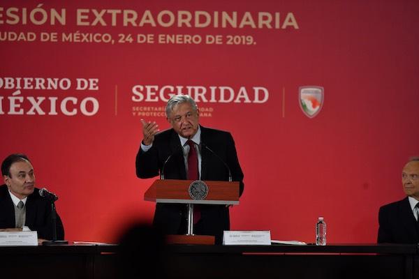 El presidente Andrés Manuel López Obrador, encabezó la inauguración de la Tercera Sesión del Consejo Nacional de Seguridad Pública. Foto:  Pablo Salazar / El Heraldo de México.