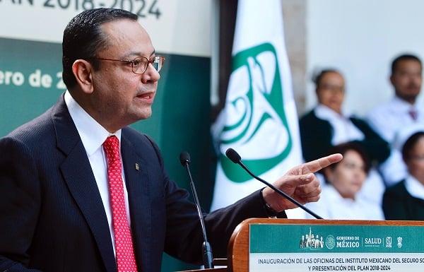 El director general del IMSS, Germán Martínez Cázares, presentó el Plan 2018-2024, que incluye las labores inmediatas, a mediano y largo plazo. Foto: Especial