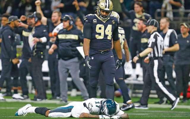 Nueva Orleans le propinó a Filadelfia su primer revés después de tener ventaja de 14 puntos en el marcador, logrando una remontada histórica de los Saints en playoffs FOTO: AP