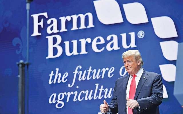 VISITA. Trump participó ayer en la convención anual de la American Farm Bureau Federation, en Nueva Orleans. Foto: AFP