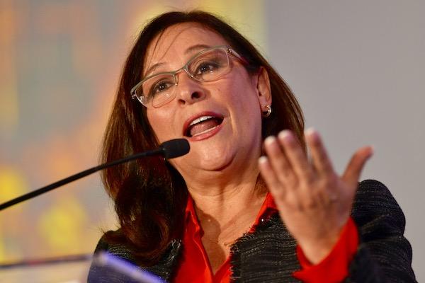 """Rocío Nahle, secretaria de Energía durante el Foro l Foro """"La importancia del acceso a la información en el combate al robo de combustible"""". Foto: Cuartoscuro."""