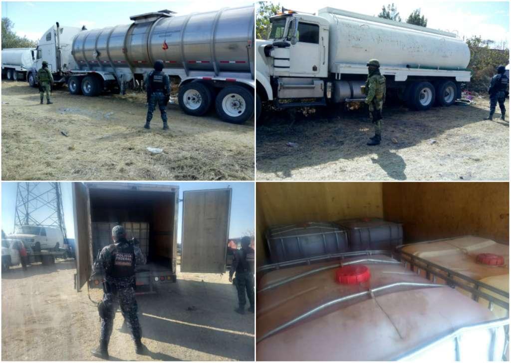 En uno de los camiones, Marca GMC, Submarca 3500, Modelo 2008 Color Blanco, tenía 4 contenedores de 1 mil 200 litros