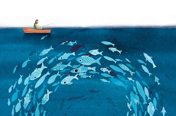 En México, más del 88 por ciento de las poblaciones de peces están sobreexplotadas, siendo el camarón la más expuesta a estos peligros. Algunos productores, restauranteros y chefs están trabajando para disminuir riesgos y fomentar su cuidado. ILUSTRACIÓN: ALLAN G. RAMÍREZ