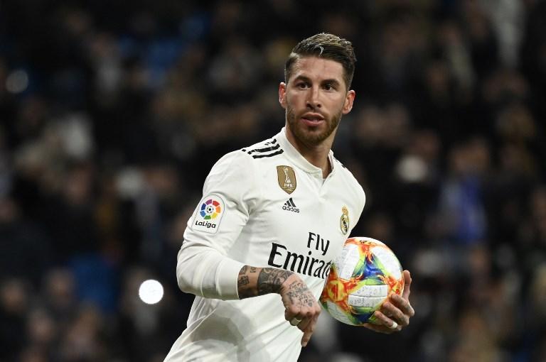 Si los merengues avanzan, Ramos nojugará la ida de los cuartos de final del torneo de la UEFA. Foto: AFP