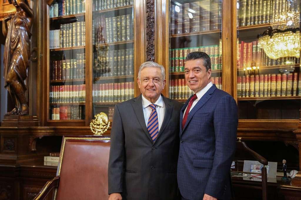 El gobernador Rutilio Escandón Cadenas sostuvo una reunión en Palacio Nacional con el presidente Andrés Manuel López Obrador. FOTO: NOTIMEX