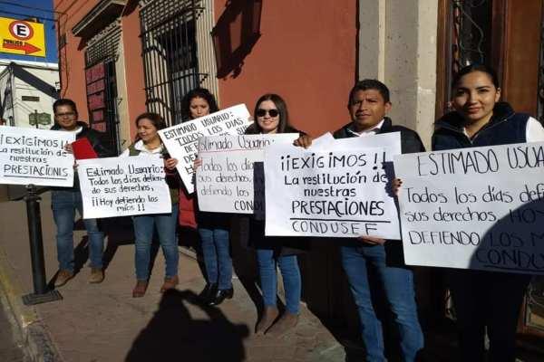 Los manifestantes amenazaron con irse a huelga si no les dan respuesta pronta. Foto:J. Ignacio Mendívil
