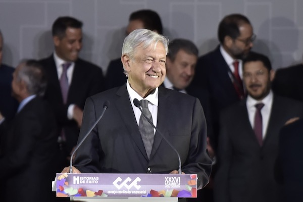 Andrés Manuel López Obrador, presidente de México, encabezó la XXXVI Asamblea Anual Ordinaria de Consejo Coordinador Empresarial (CCE). FOTO: MARIO JASSO / CUARTOSCURO.COM