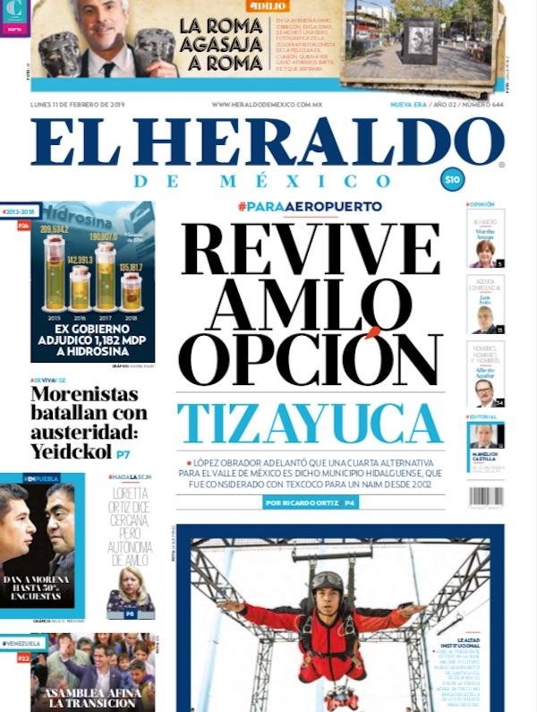 Portada El Heraldo de México / 11 de febrero de 2019