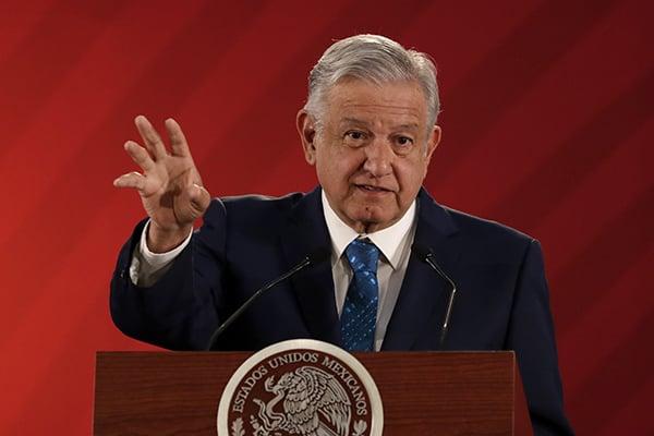 Andrés Manuel López Obrador en conferencia matutina en Palacio Nacional. FOTO: NOTIMEX