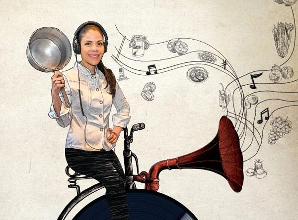 EL SABOR DE LA MÚSICA. La chef del año, Gabriela Ruiz, experimenta en Carmela y Sal una virtud que descubrió desde niña, transformar los sonidos en experiencias gastronómicas. FOTO: PABLO SALAZAR SOLÍS / ILUSTRACIÓN: ALLAN G. RAMÍREZ