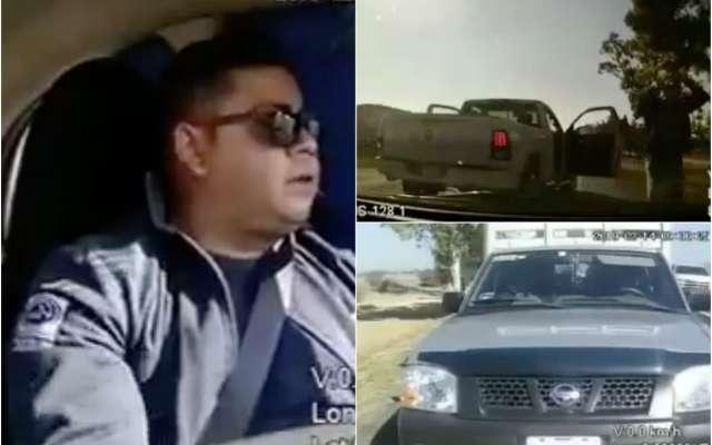 Los videos, que tienen fecha del 14 de febrero, dejan ver que los sujetos se trasladaban en una camioneta blanca y otro automóvil