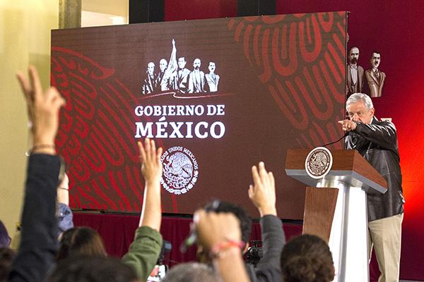 Andrés Manuel López Obrador en conferencia de prensa en Palacio Nacional. FOTO: NOTIMEX