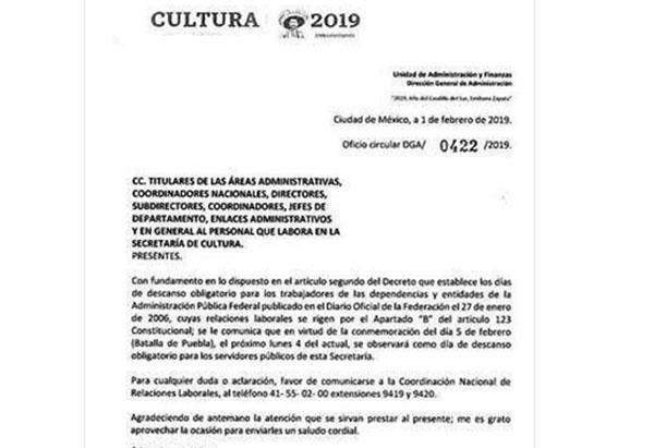 El oficio tenía la intención de informar a los trabajadores de la Secretaría de Cultura sobre el descanso obligatorio del 5 de febrero. Foto: Especial