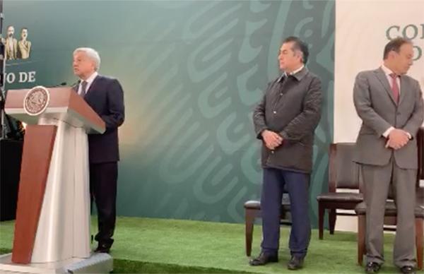 Andrés Manuel López Obrador en conferencia de prensa desde Nuevo León. FOTO: ESPECIAL