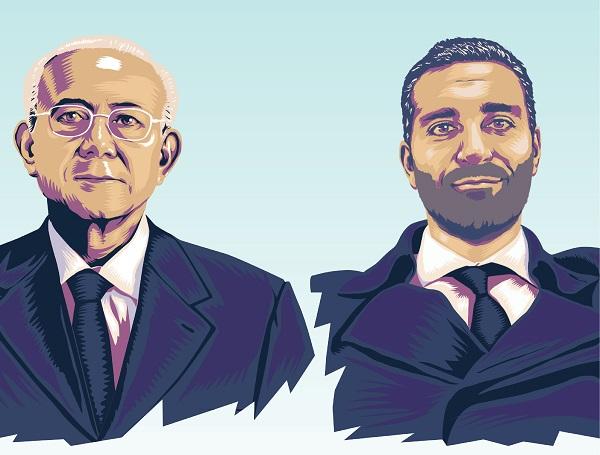 PERFILES. Ellos son Humberto Hernández Haddad y Simón Levy-Dabbah, de generaciones distantes, pero tejidos con el mismo hilo de la lealtad. ILUSTRACIÓN: ALLAN G. RAMÍREZ