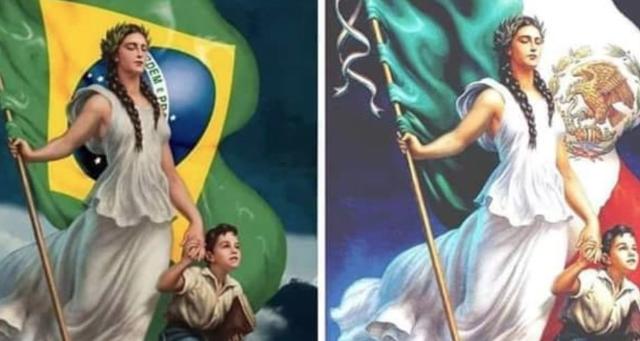 En una campaña de Brasil para promover que  aprendan su himno nacional plagiaron una pintura del mexicano Jesús de la Helguera. FOTO: Tomada de Twitter