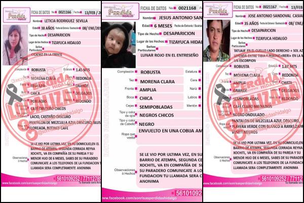 Los tres miembros de la familia que vivía en Tizayuca, fueron reportados como desaparecidos el 13 de febrero. Foto: Especial