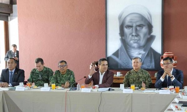 Aureoles Conejo  participó en la reunión de trabajo de la Mesa de Coordinación Estatal para la Construcción de la Paz. Foto: Especial