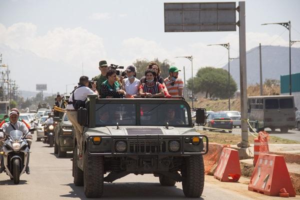 Claudia Sheinbaum, afirmó que continuarán los trabajos conjuntos con el gobierno municipal de Nezahualcóyotl y con el propio gobierno del Estado de México, principalmente para reforzar las estrategias de seguridad. Foto: Guardia Nacional