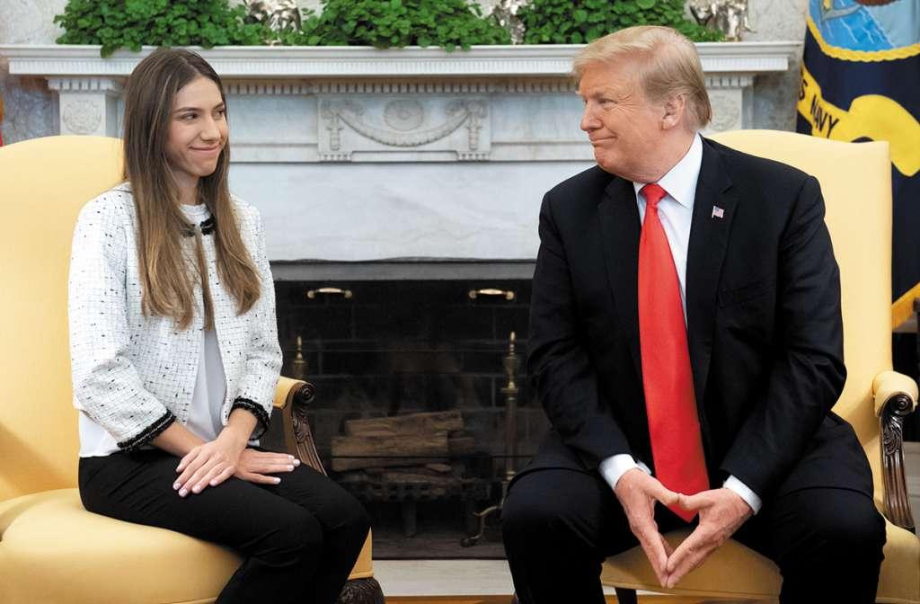 Trump recibió ayer a la esposa del presidente encargado de Venezuela, Fabiana Rosales. FOTO: AP