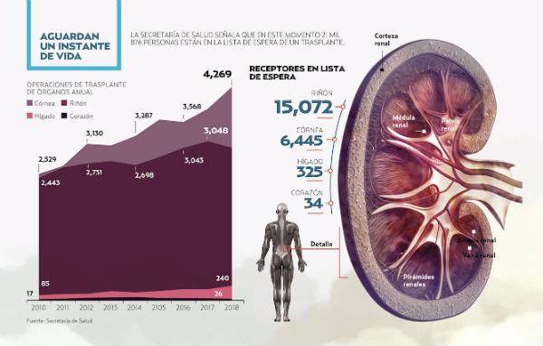 Hace 10 años en el país se requerían 5 mil 540 riñones. Gráfico: Paul D. Perdomo