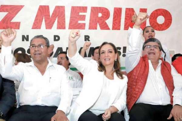 Claudia Ruiz Massieu tomó la protesta del candidato priista a la gubernatura, Alberto Jiménez. FOTO: ESPECIAL