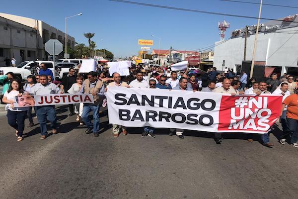 Periodistas protestan en San Luis Río Colorado, Sonora por asesinato de Santiago Barroso  Foto: Sonora Red.