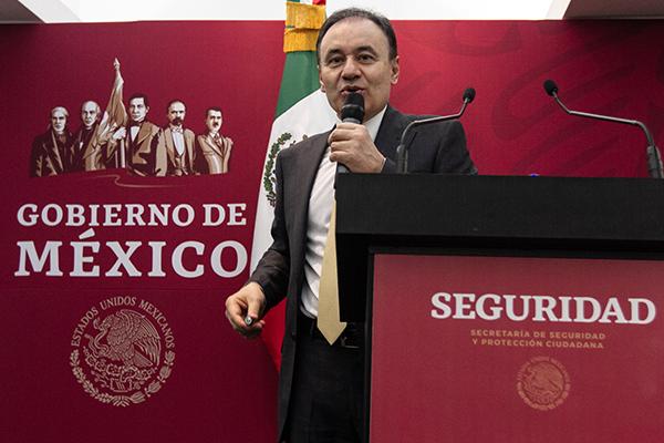 El secretario de Seguridad y Protección Ciudadana, Alfonso Durazo, en conferencia. FOTO: NOTIMEX
