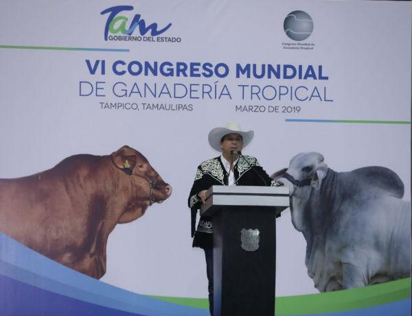 APERTURA. El mandatario, durante la inauguración del Congreso Mundial de Ganadería. Foto: Especial