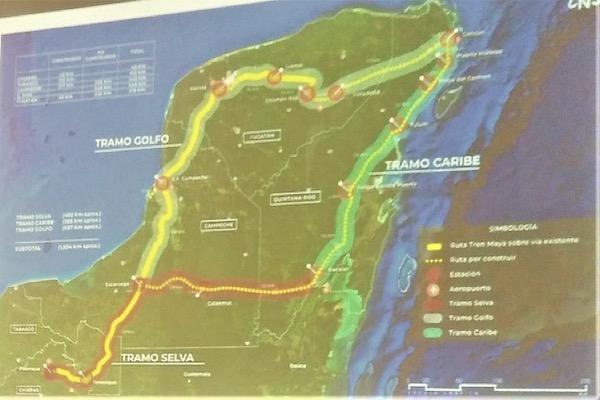 El Tren Maya recorrerá mil 554 kilómetros, de los cuales 500 cruzarán la selva. Foto: INAH