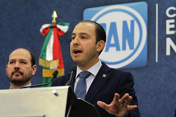 Marko Cortés Mendoza, presidente Nacional del PAN en conferencia de prensa. FOTO: NOTIMEX