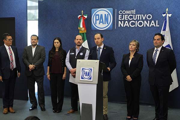 Marko Cortés Mendoza, presidente Nacional del PAN, en conferencia. FOTO: NOTIMEX