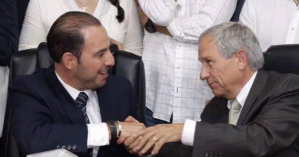 El panista Marko Cortés y el candidato Enrique Cárdenas.FOTO: ESPECIAL