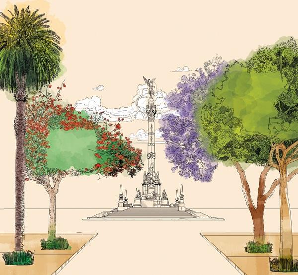 La CDMX tiene 501 parques y jardines que se distribuyen en 485 kilómetros cuadrados de superficie. ILUSTRACIÓN: ALLAN G. RAMÍREZ