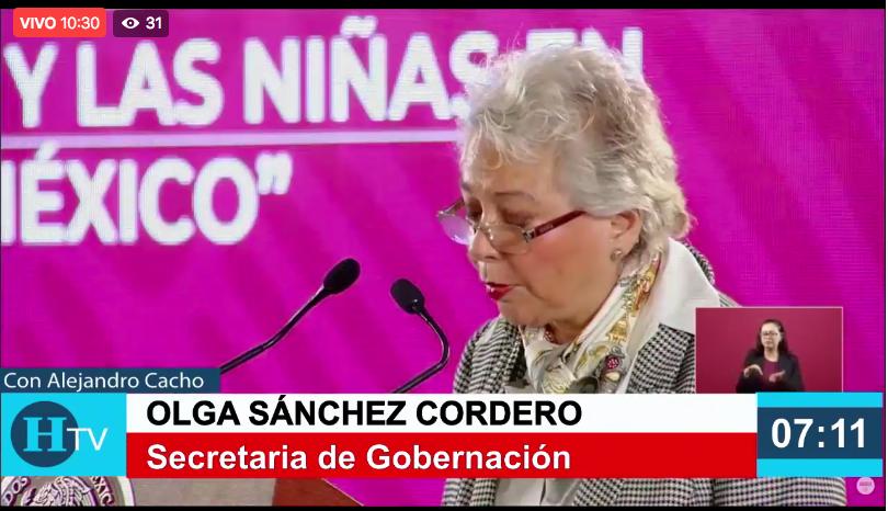 Cada 160 minutos, niñas y mujeres son privadas de su libertad en México, asegura Sánchez Cordero