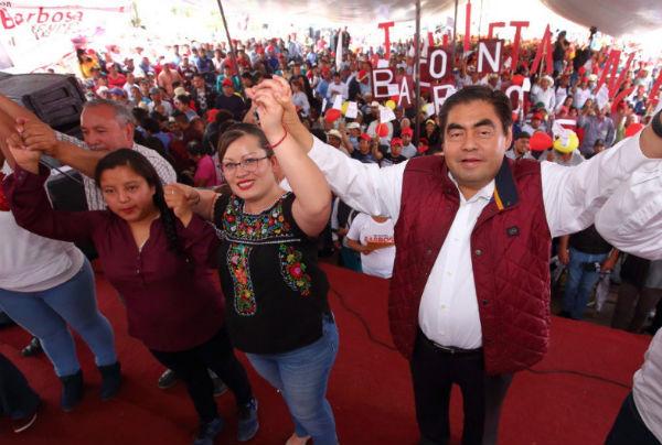 Los dirigentes de los partidos Verde Ecologista de México, del Trabajo y Morena reiteraron su respaldo a Barbosa Huerta . FOTO: ESPECIAL