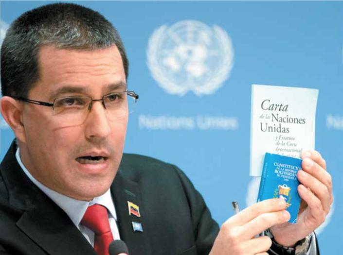 El canciller chavista, Jorge Arreaza, acudió a una conferencia de prensa en la sede de Naciones Unidas.FOTO: ESPECIAL