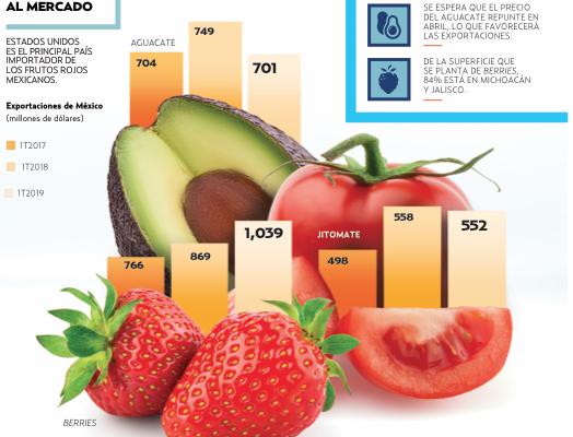 Los frutos rojos también ganaron terreno al jitomate, cuyas ventas bajaron