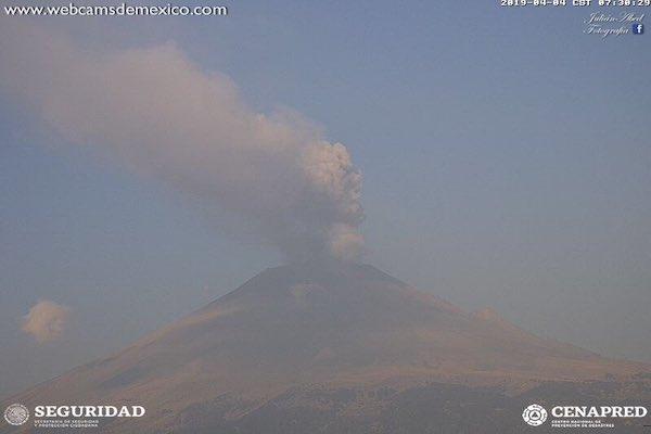 El Semáforo de Alerta Volcánica continúa en Amarillo Fase 3. Foto: @SkyAlertMx