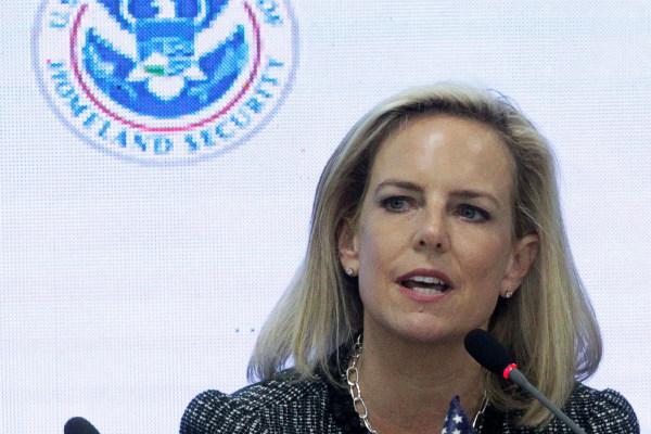 Kirstjen Nielsen, secretaria de Seguridad de EU, en conferencia de prensa FOTO: Reuters