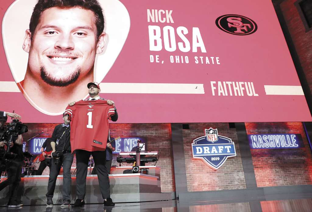 PICK 2. El ala defensiva de Ohio State, Nick Bosa, jugará con San Francisco. FOTO: Kyler Murray