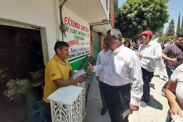 El aspirante a la gubernatura de Puebla advirtió que no derrochará recursos en obras innecesarias. Foto: @jimenezmerinomx
